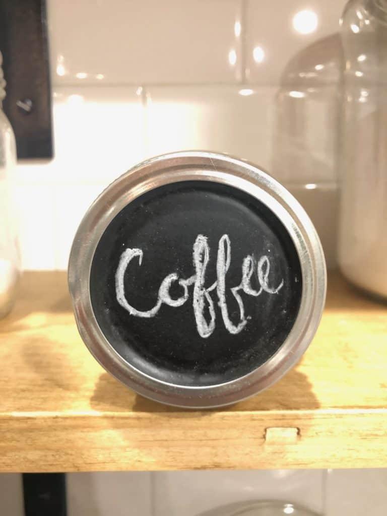 chalkboard lids open shelves canning jar storage