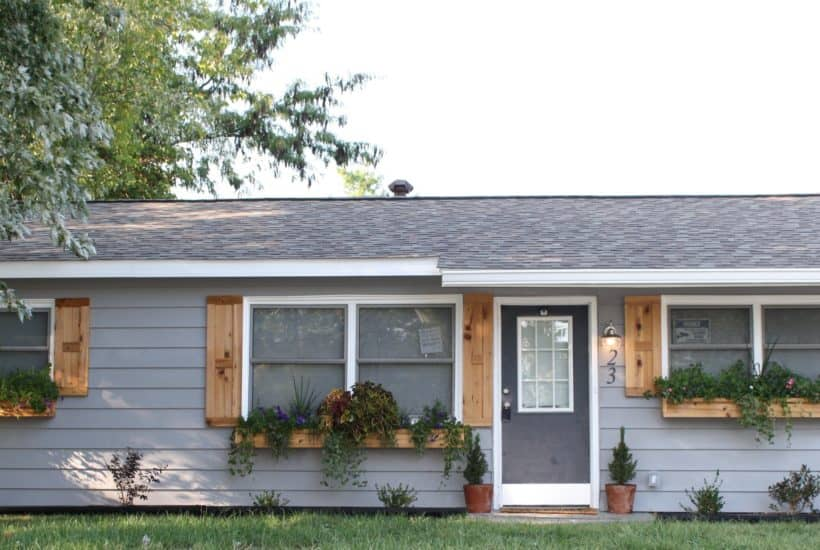 DIY cedar shutters and cedar windowboxes