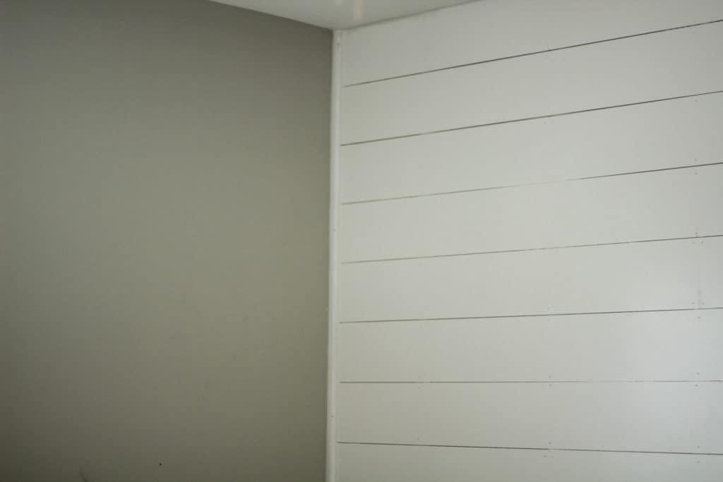 DIY white shiplap office wall