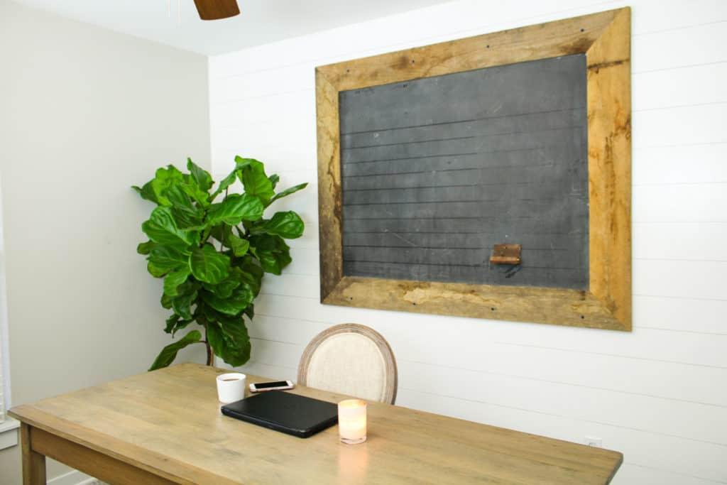 DIY farmhouse shiplap wall