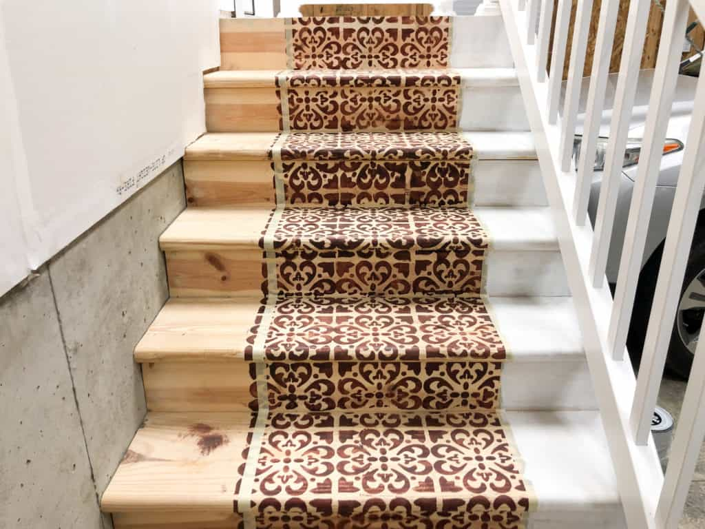 Stenciled Stained Steps