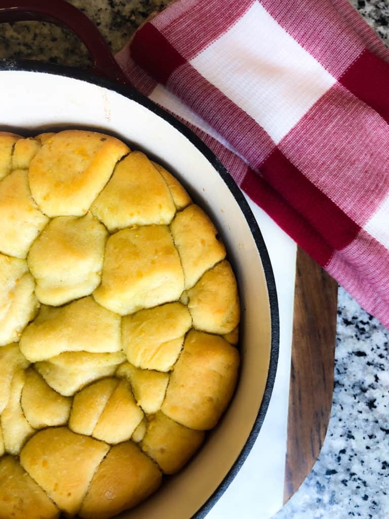 dutch oven herb pull apart bread