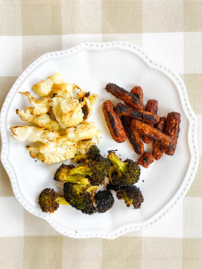 roasted broccoli cauliflower and carrots