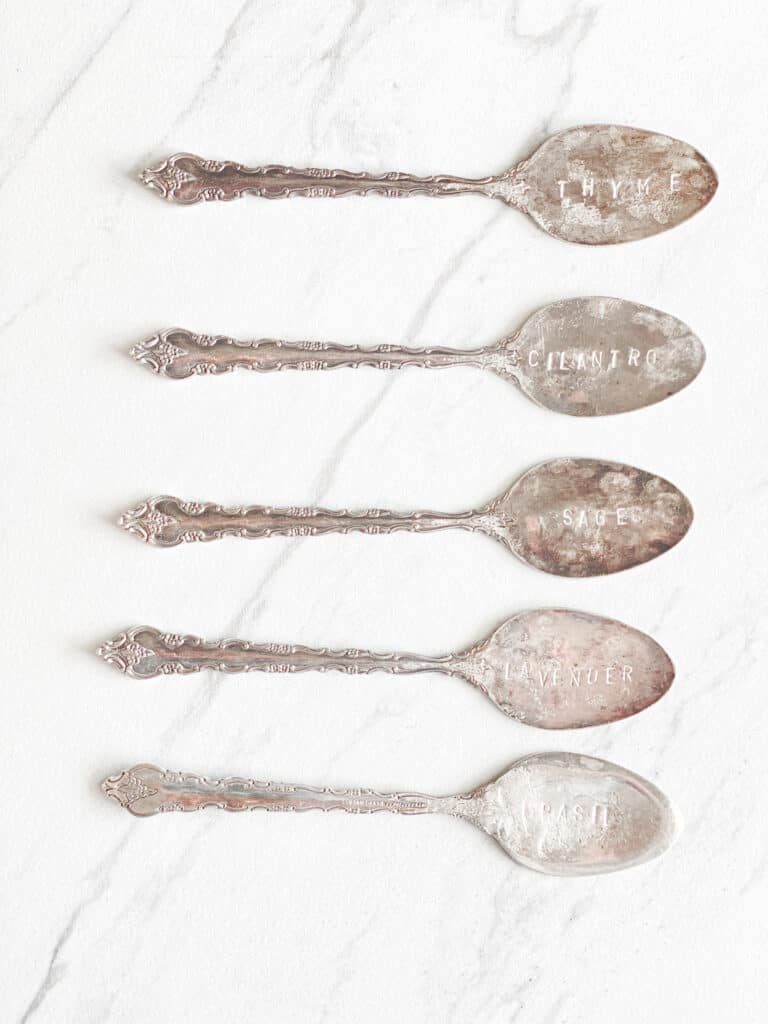 Stamped antique spoons with herb names by fearlessdiy