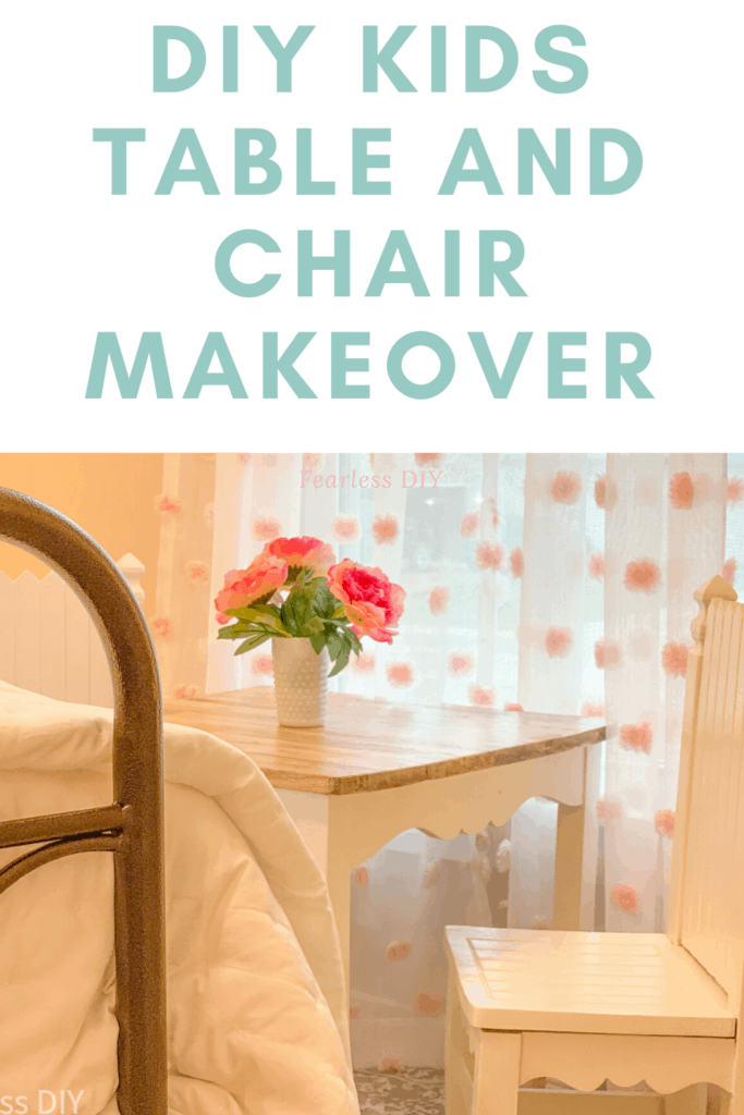 pinterest pin with diy makeover of a childs table and chairs