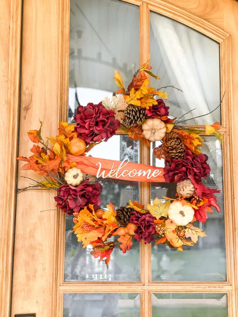 DIY fall wreath made with items from Dollar Tree