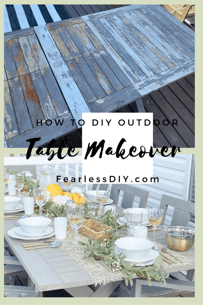 Pinerest pin of before and after on a pottery barn outdoor dining table makeover