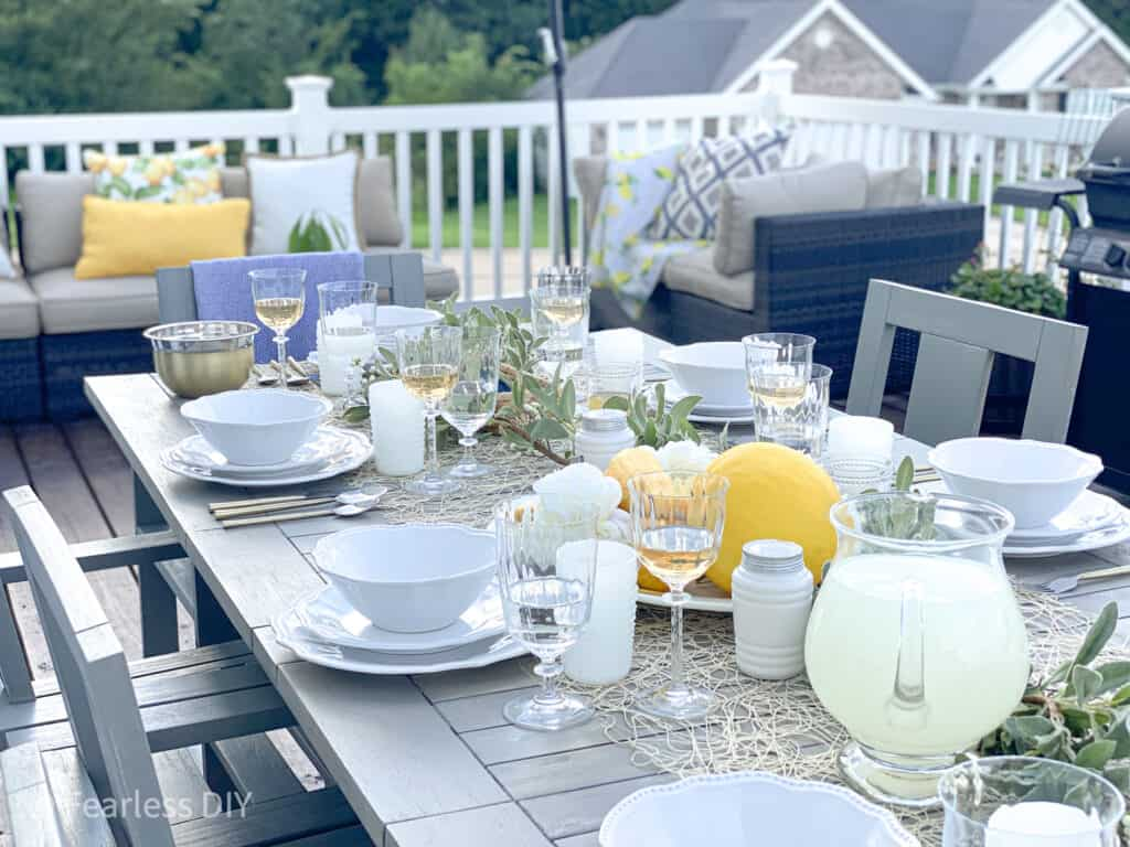 Pottery Barn Outdoor dining table makeover