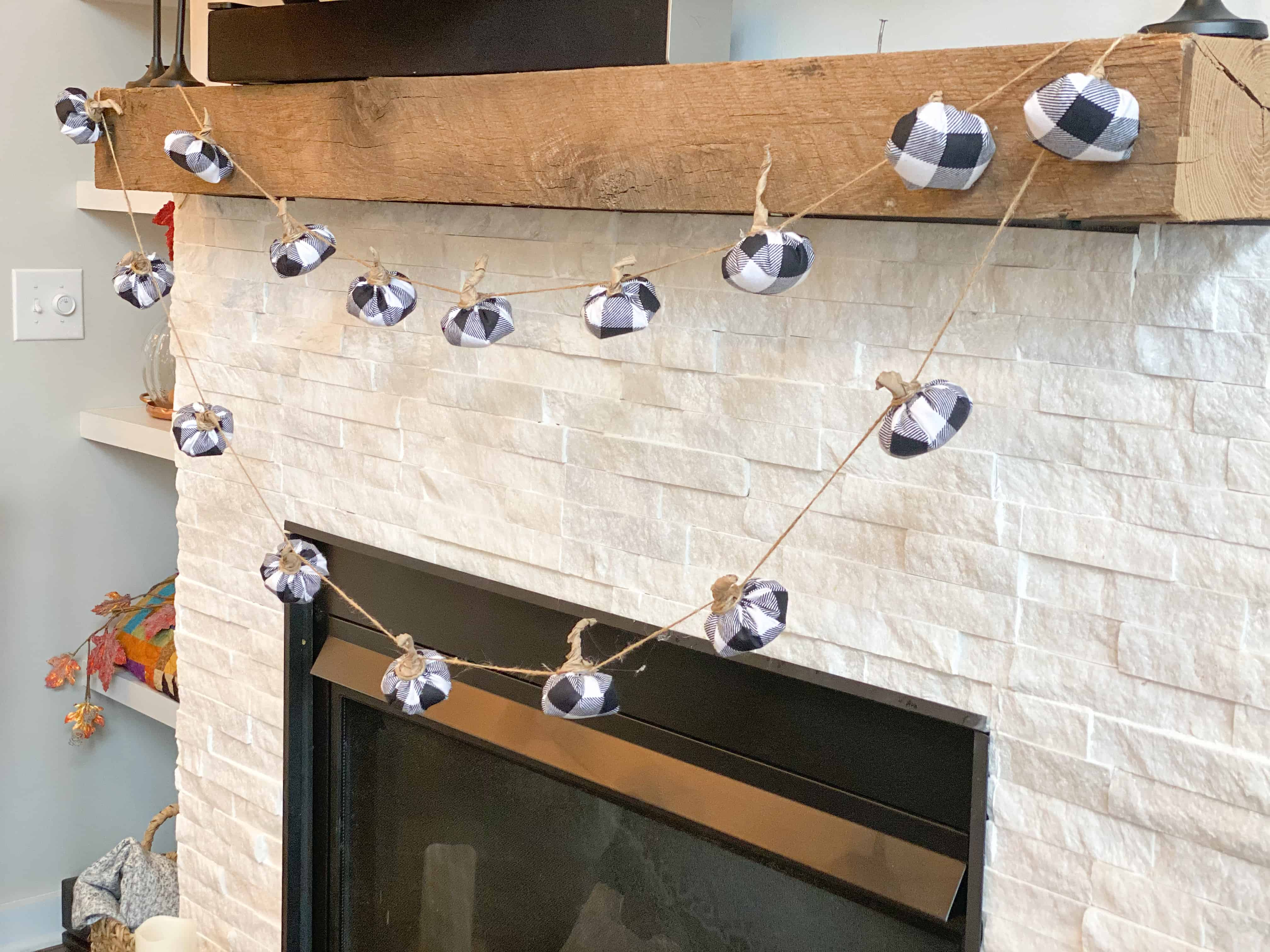 black and white buffalo check pumpkin garland