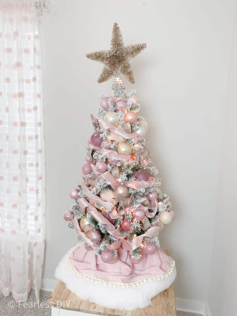 decorate a flocked christmas tree along with me