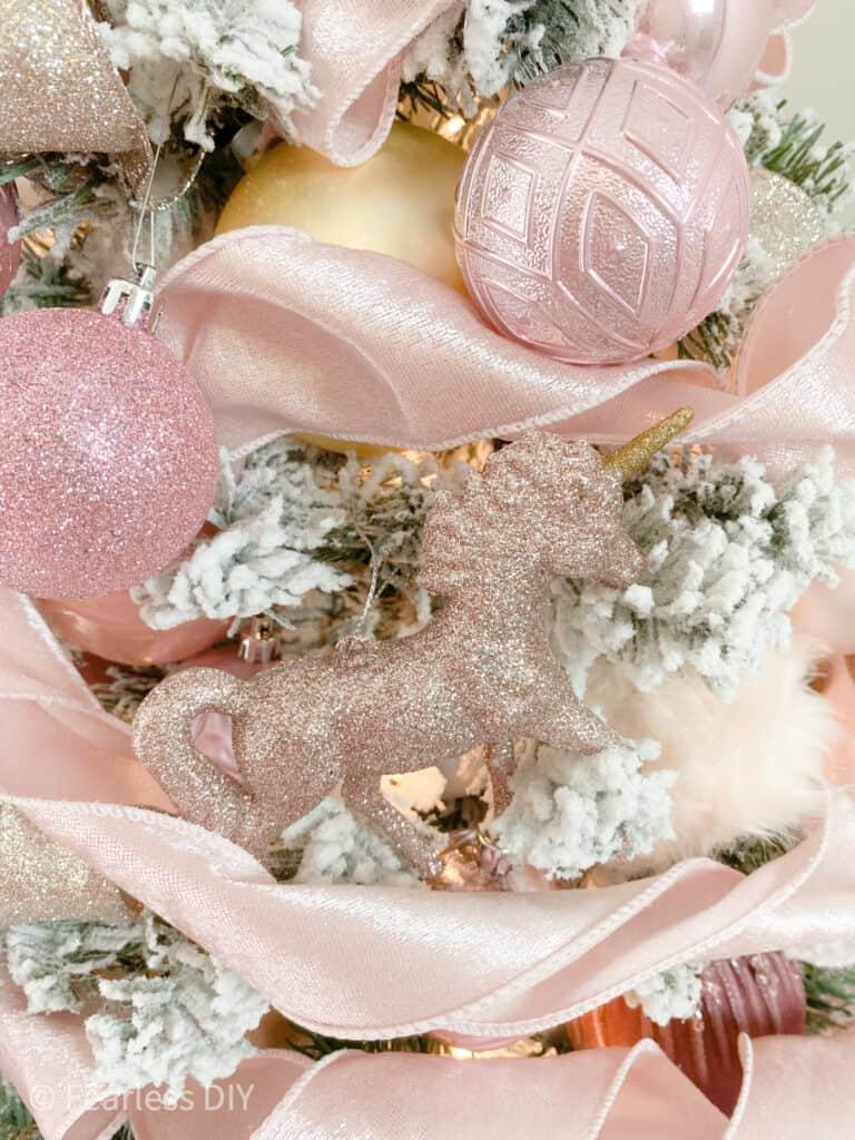 little girl pink glitter unicorn christmas tree