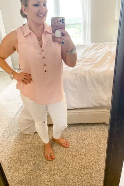 pink henley with white distressed jeans