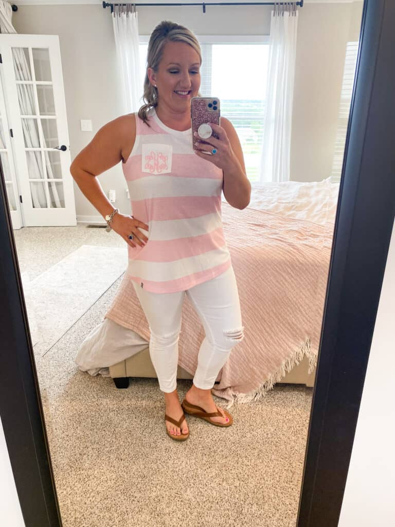 Marley Lilly pink.white striped top with monogram on breast pocket