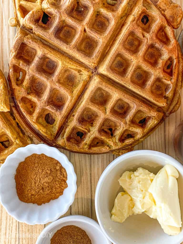 pumpkin waffles spiced with cinnamon, ginger, cloves, allspice and nutmeg.