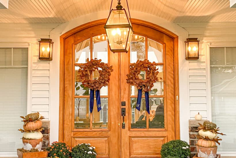 stained arched front doors